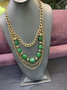 "Emerald Green And Gold 4 Multi Strand Waterfall Long Bib Statement Necklace 28"""