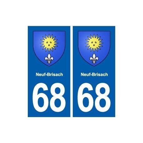 68 Neuf-Brisach blason autocollant plaque stickers ville arrondis