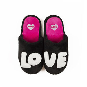 Ladies Red Plush Fleece 3D LOVE Letters Mule Slippers In Sizes 3.5-4.5 & 5-6