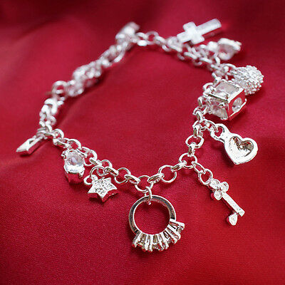 Fashion Silver Plated  Silver Plated Women 13 Charm pendant Beautiful Bracelet