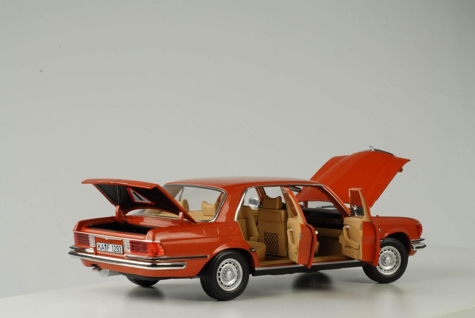 Mercedes-benz 1976 450 sel 6.9 w116 naranja metalizado 1 18 norev nuevo 183459
