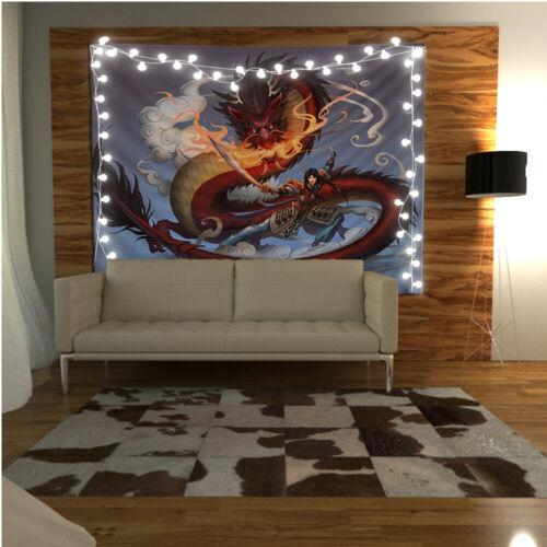 Dragon Warrior Tapestry Wall Hanging Mandala Bedspread Indian Home Decor