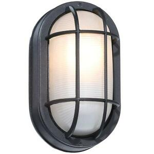 Details About Hampton Bay Exterior Wall Light 240 235 Black Oval Frosted Ribbed Gl