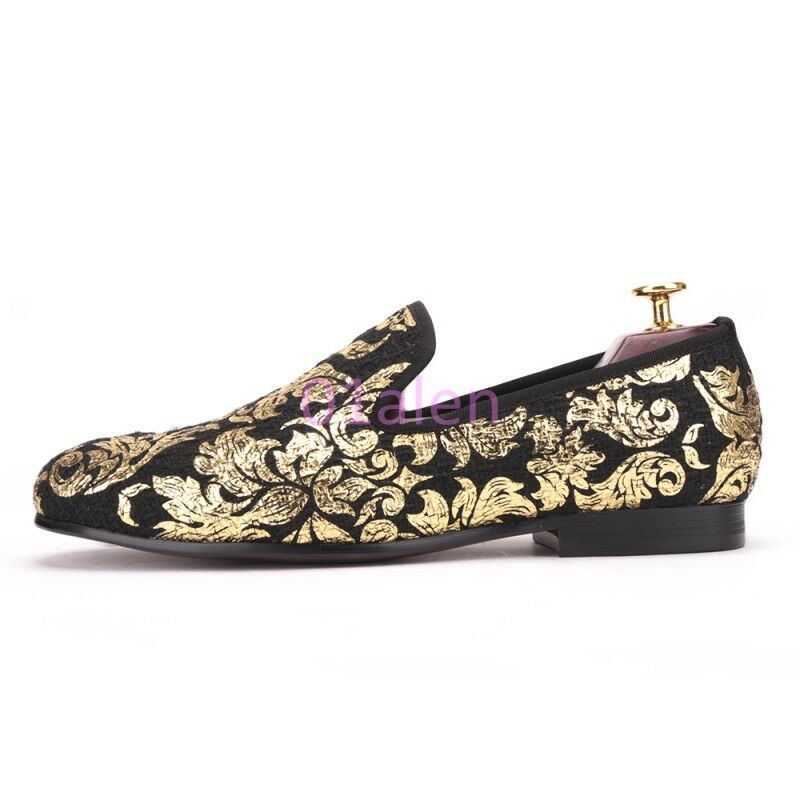 Uomo Slip On Loafers Low Top Top Top Flats Dress Wedding Costume Shoes Pumps Gold Floral ad8f05