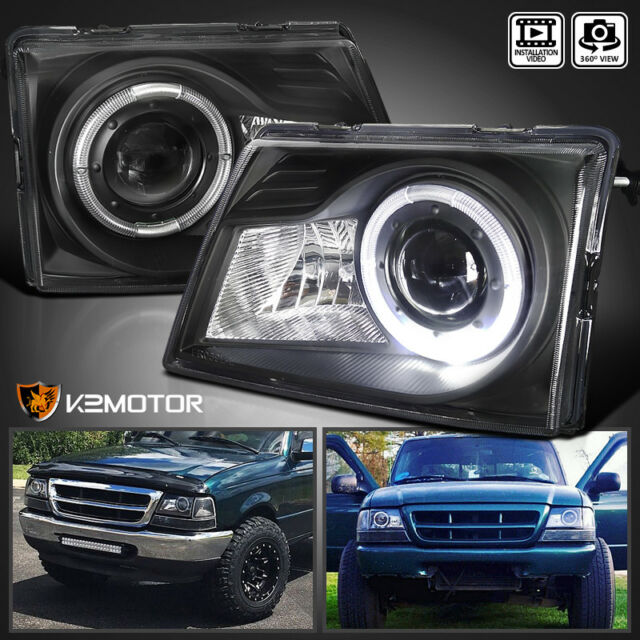 1998 2000 Ford Ranger Halo Projector Headlight Lamps Black For Online Ebay
