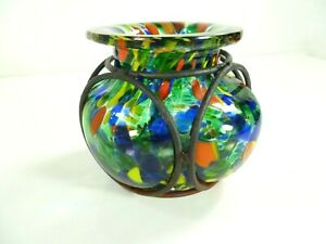 Vtg-Hand-Blown-Green-Colorful-Splash-Caged-Glass-Bubble-Vase-Wrought-Iron-Cage