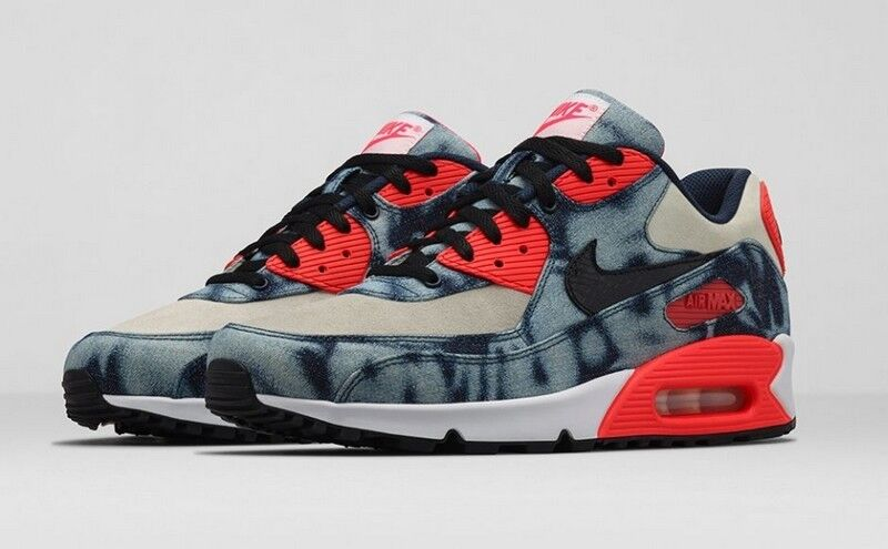Nike Air Max 90 Bleached Denim ATMOS Midnight 700875-400 Navy Blk White Infrared 700875-400 Midnight 1d457e