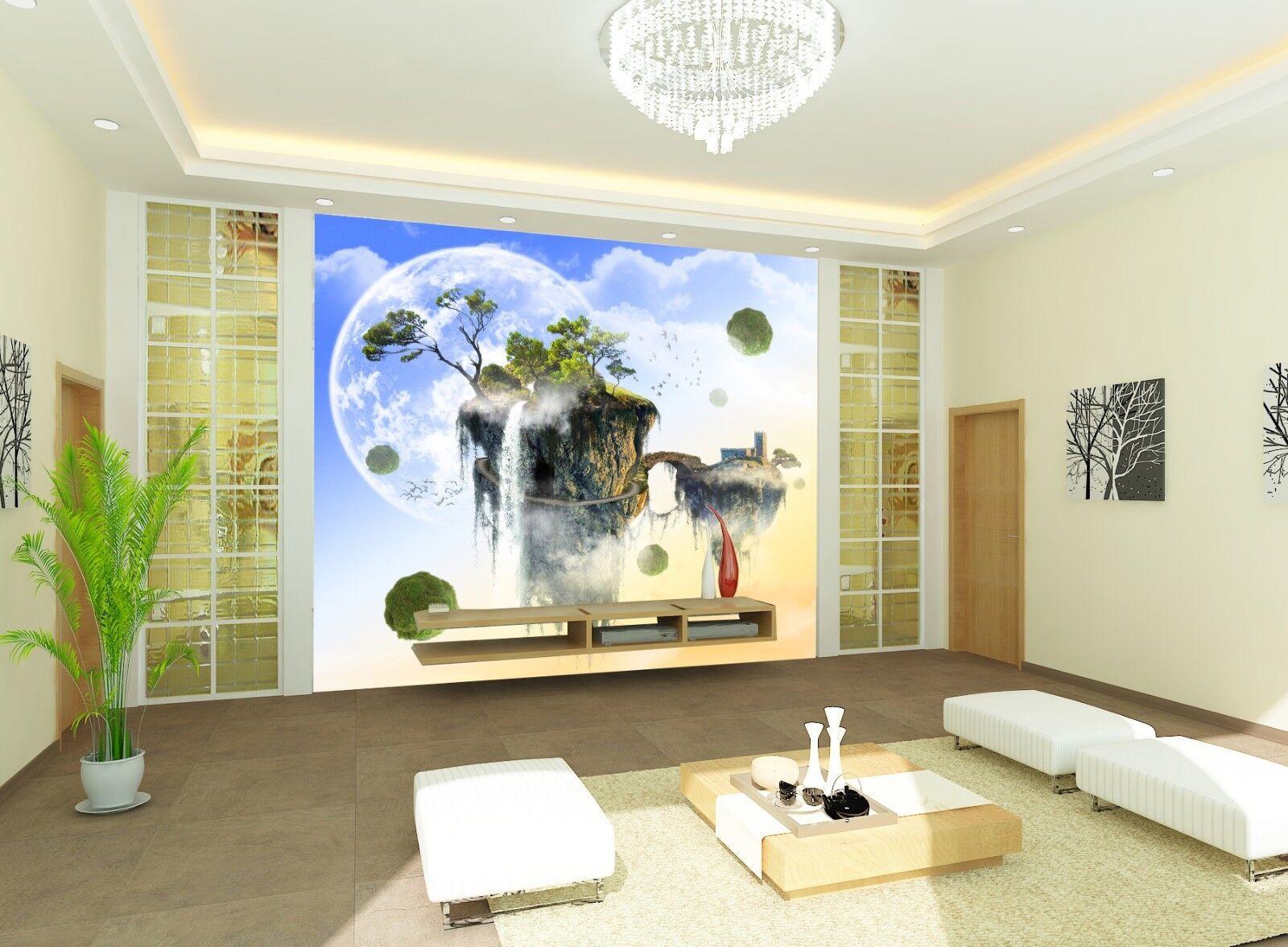 3D Mond Insel Baum 577 Tapete Tapeten Mauer Foto Familie Tapete Wandgemälde DE