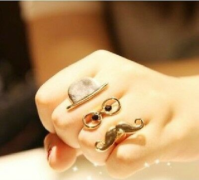 Gothic Punk Cosplay Enamel Hat Glasses Gold Mustache Double Finger Ring Funny