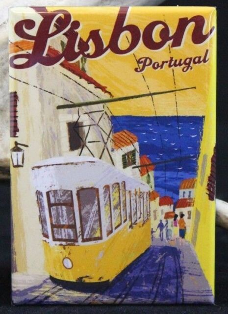 "Lisbon Vintage Travel Poster - 2"" X 3"" Fridge / Locker Magnet. Portugal Trolley"