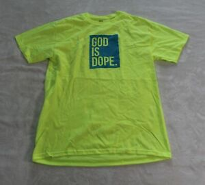 God-Is-Dope-Men-039-s-Short-Sleeve-Logo-Crewneck-T-Shirt-SV3-Neon-Yellow-Medium