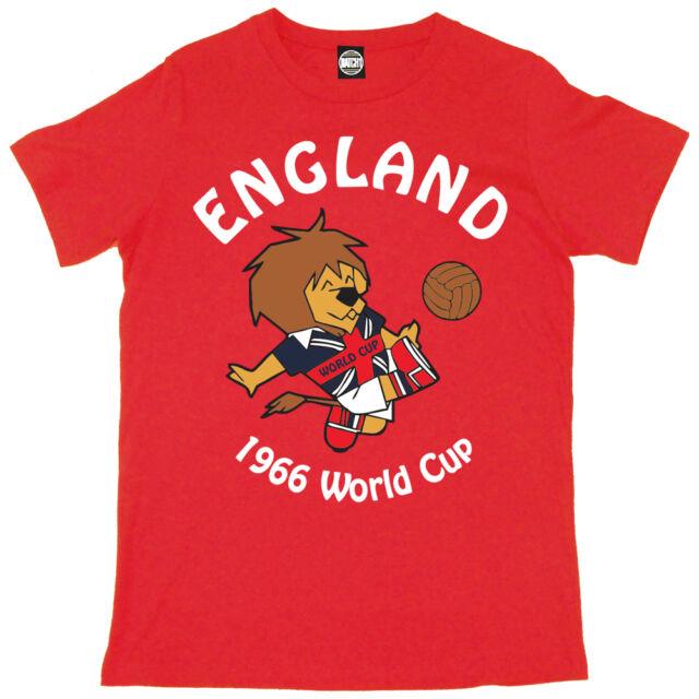 WORLD CUP WILLY MENS ENGLAND FOOTBALL MASCOT 1966 RETRO PRINT T-SHIRT