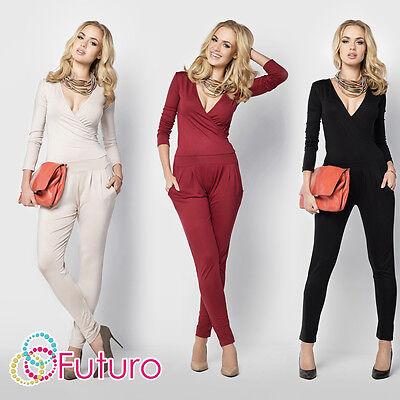 Womens Sexy Jumpsuit V Neck Wrap Playsuit Pockets Catsuit Sizes 8 - 14 Fm16 Rohstoffe Sind Ohne EinschräNkung VerfüGbar