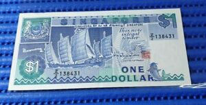 Z/2 Singapore Ship Series $1 Note Z/2 138431 Replacement Banknote Currency HTT
