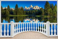 Huge 3D Balcony Exoitic Mountain Lake Wall Sticker Decal Wallpaper S65