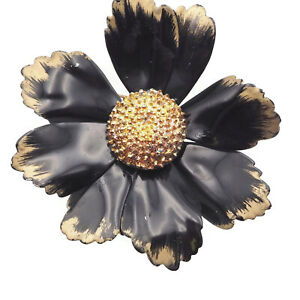 Vintage-Large-Chunky-Gold-Tone-And-Black-Enamel-Floral-Fashion-Brooch-Pin