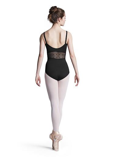 Black Bloch princess seam mesh camisole Leotard -Size XL L9927