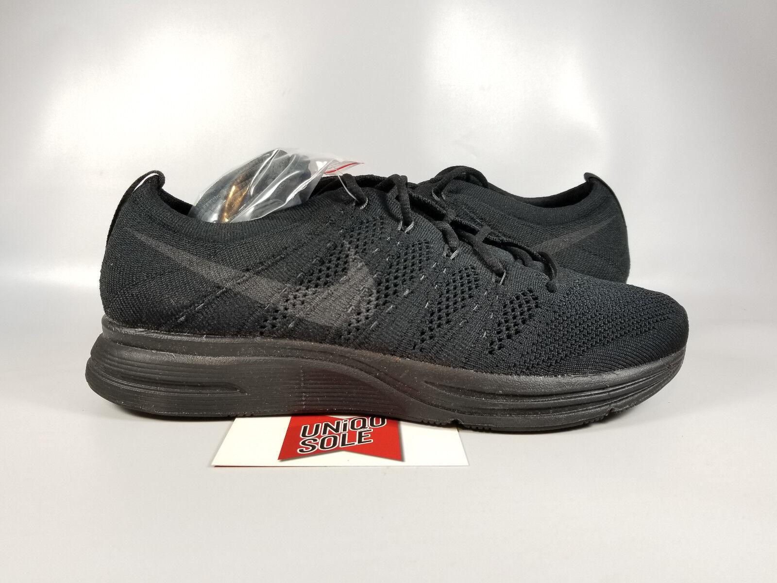 Nike Flyknit Trainer TRIPLE BLACK BLACKOUT AH8396-004 9.5 Men RUNNING RACER OREO
