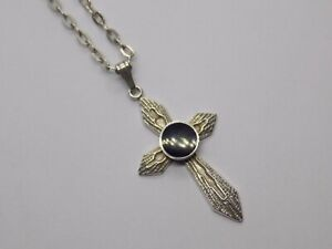 """VINTAGE/ANTIQUE STERLING 925 SILVER CROSS PENDANT ON 18"""" SILVER CHAIN. (NCB)"""