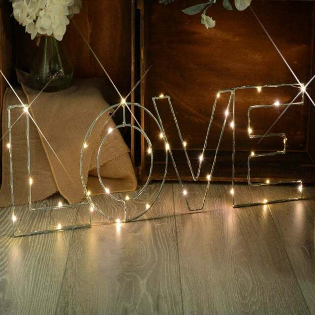 LED Star Light Wire Decoration Message Gift Present Birthday Warm White - LOVE
