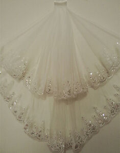 White-Ivory-Beaded-Lace-Edge-Short-Bridal-Veil-Wedding-Bride-Hair-Accessories