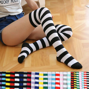 Women-Colorful-Stripe-Over-Knee-High-Stockings-Party-red-white-socks-rainbow