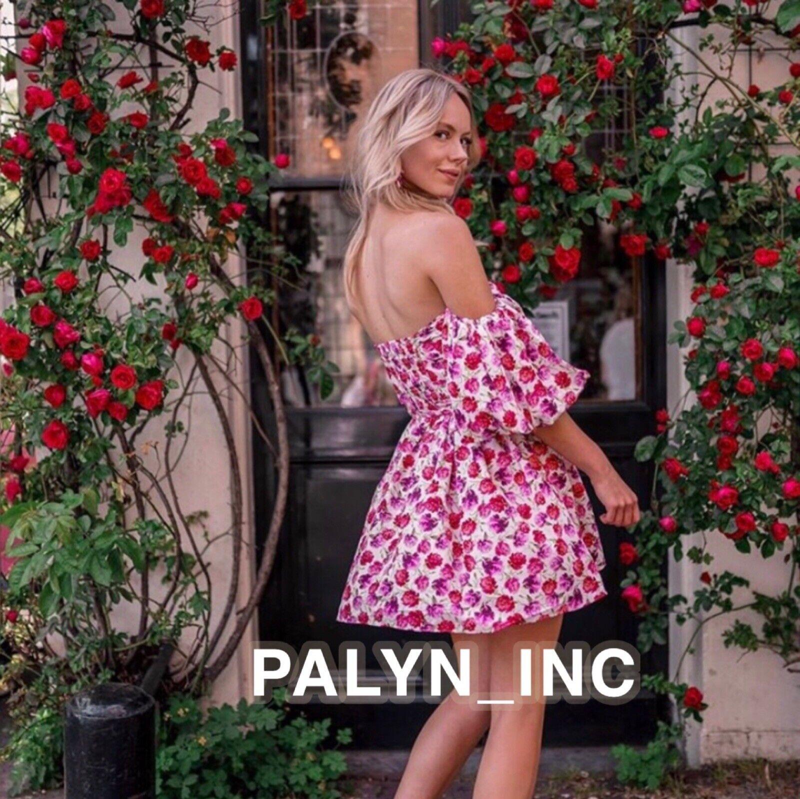 Nwt Zara SS19 Mini Bedrucktes Kleid mit Gürtel Blaumenmuster Puffärmeln_XS-L