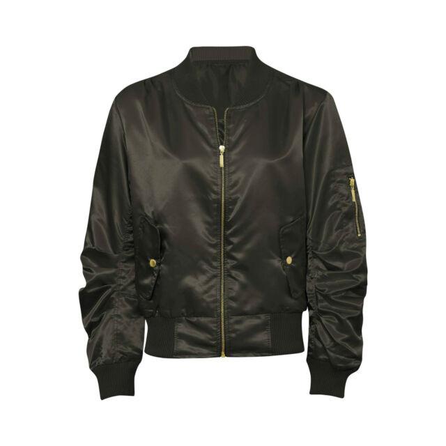 78ede4a59a3 Women Ladies Satin Ma1 Bomber Jacket Vintage Summer Coat Flight Army Biker  Retro Bronze UK Xl(16)