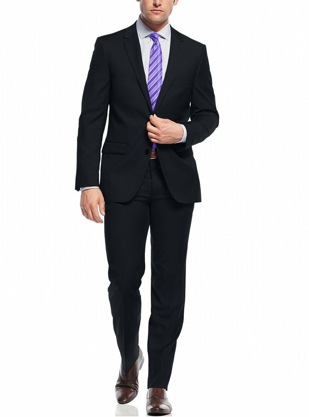 Nicoletti Two Button Slim Fit  Herren Suit Working Holes