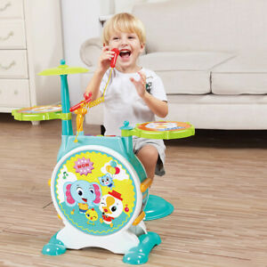 Kids Toddler First Electric Drum kit Set With Mic Snd Seat Children Musical Toy