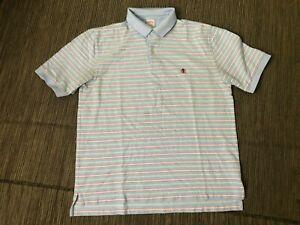 Brooks-Brothers-Mens-Large-Performance-Polo-Shirt-Stripe-Blue-Original-Fit
