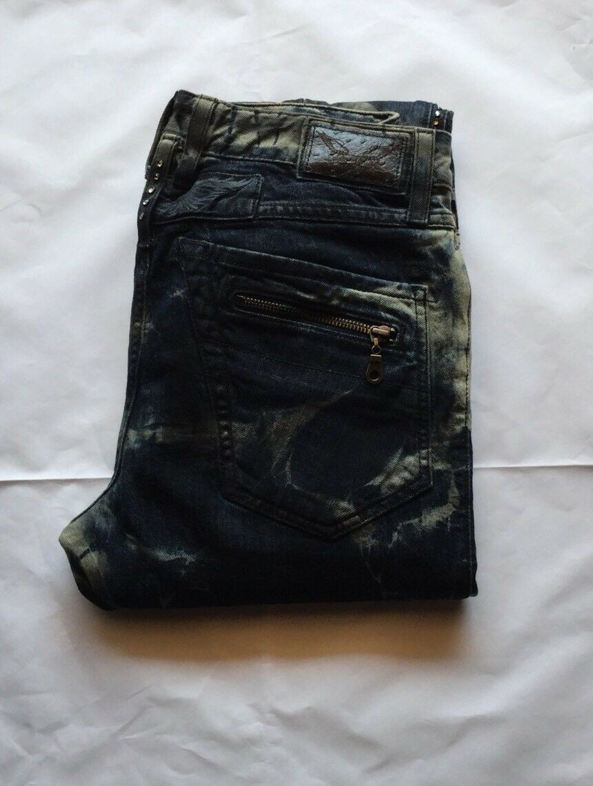 Robin's Jean Men Racer Straight Leg With Diamond Quilting At Knees Size 40