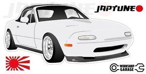 Mazda-Miata-MX5-Style-Sticker-White-with-Enkei-Style-Rims-JapTune-Brand