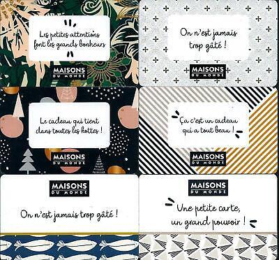 8 Cartes cadeaux - Maison du Monde - Geschenkkarte - Gift Card  eBay