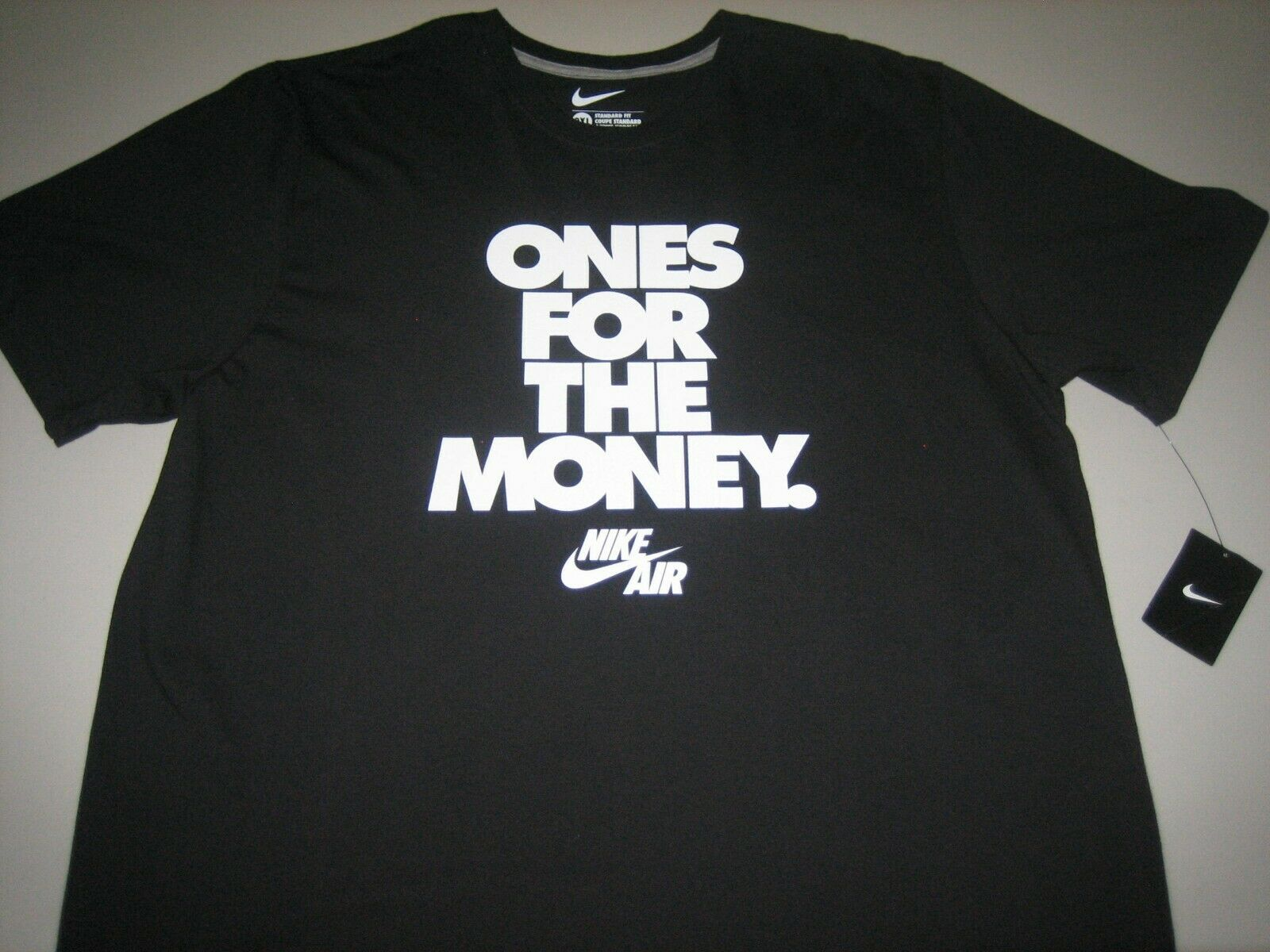 """Nike Air """"Ones For The Money"""" T-Shirt Black/White Men's 2XL FAST FREE  SHIPPING"""
