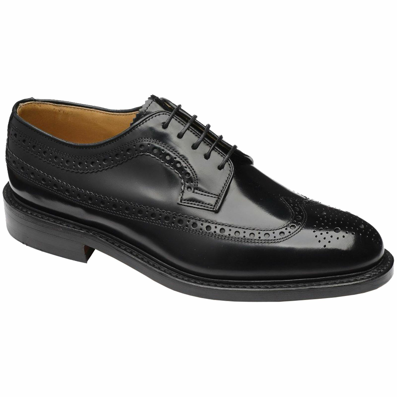 Loake Royal Black Mens Leather Full Brogue Lace-up Formal Shoes