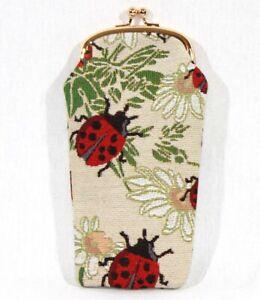 Signare-Brillenetui-Marienkaefer-Ladybird-Gobelin-Knipsverschluss-Handyetui