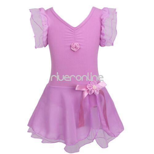 Mädchen Ballett Kleid Kinder Tanzkleider Ballettanzug mit Tütü Rock Gr 92-152