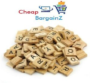 100 wooden scrabble tiles black letters and numbers for arts