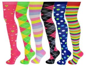 6507d8008ce 6 Pairs Knee High Socks Bright Colorful Trendy Over The Knee ...