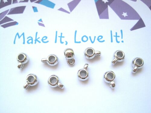 10 x SIMPLE ROUND Silver Colour ACRYLIC BAILS Hanger Beads Loop JEWELLERY MAKING