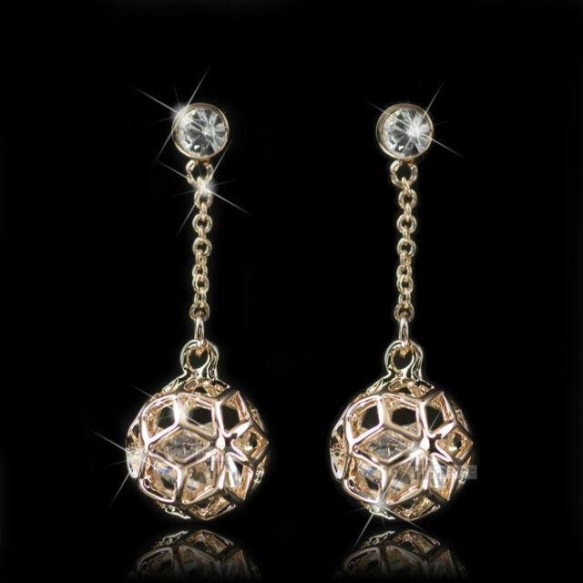 18k rose gold gf made with SWAROVSKI crystal ball stud dangle earrings