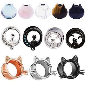 PAIR-316L-Surgical-Steel-Stone-Cat-Flesh-Tunnels-Ear-Plugs-Earlets-Ear-Gauges