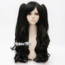 90CM Long Curly Women Lolita Gothic Party Cosplay Black Hair Wig + 2 Ponytails