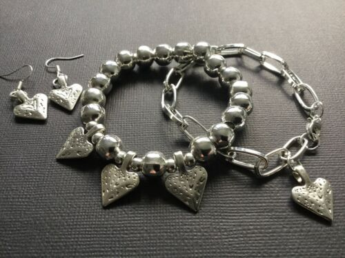 Silver hearts Stacking bracelet Duo Beaded And Chain And Heart Earrings Boho