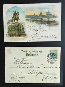 AK-Litho-034-Gruss-aus-Koeln-034-Panorama-Denkmal-Friedrich-III-1897-gelaufen