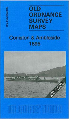 OLD ORDNANCE SURVEY MAP CONISTON AMBLESIDE 1895 GRASMERE GRIZEDALE HAWKSHEAD
