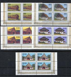 Bund-1819-1823-VB-postfrisch-im-Eckrand-Viererblock-BRD-Bauernhaeuser-1995