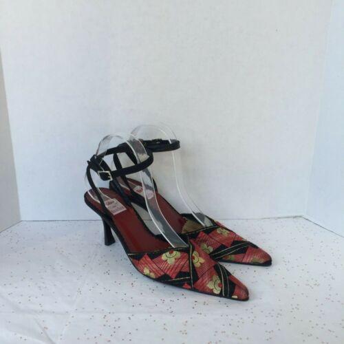 Ramon Tenza Vintage Ankle Strap Red Black Gold Flo