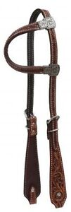 WESTERN-SADDLE-HORSE-PREMIUM-LEATHER-BRIDLE-ONE-1-EAR-HEADSTALL-MEDIUM-BROWN